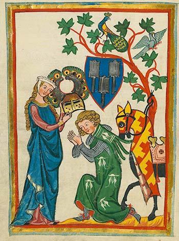 Kneeling Knight. Codex Manesse (c. 1340)
