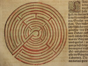 The Labyrinth of the Minotaur, as depicted by <a href='https://en.wikipedia.org/wiki/Sebastian_M%C3%BCnster'>Sebastian Münster</a> (1488-1552)